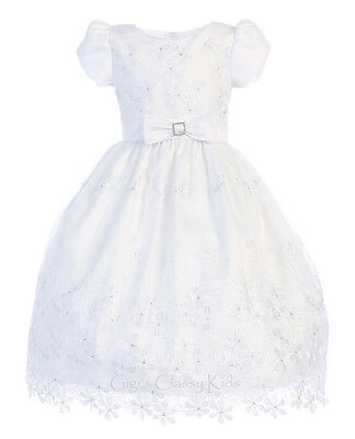 Flower Girls White First Communion Dress Organza Wedding Party Easter Formal New