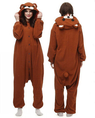 WOTOGOLD Polar Fleece Coffee Bear Kigurumi Pajama Adult Animal Cosplay Costume ](Adult Bear Costumes)