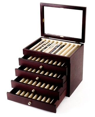 Wancher Japan Lacquer Wooden Box Fountain Pen Display Case 50 Pens F/S