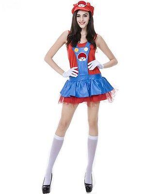 Mario Womens Dress Up Costume, 80s Mario Bros - One Size (AU 8 - 12)