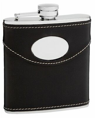 6oz Black Leather Hip Flask with Oval Engraving Area, Free Personalization
