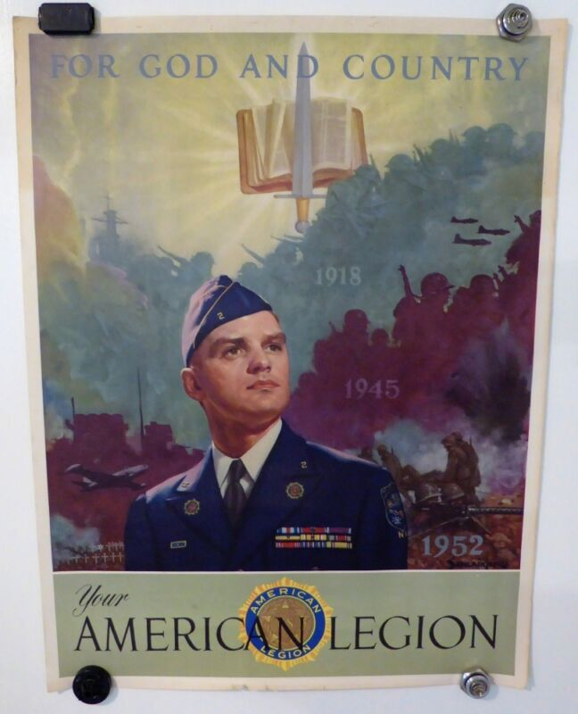 VINTAGE AMERICAN LEGION POSTER FOR GOD AND COUNTRY ROLLED POSTER