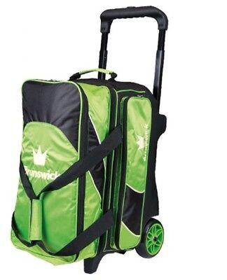 Brunswick EDGE Premium 2 Ball Roller Bowling Bag 5-Inch Wheels Color Green