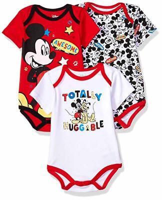 Disney Baby Boys' Mickey Mouse Three-Pack Bodysuits Size 12M 18M 24M Baby Three Pack Bodysuits