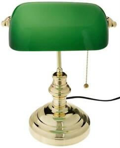 NEW Lite Source LS-224PB Banker's Lamp, Polished Brass with Green Glass Condition: New