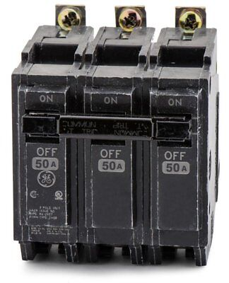 General Electric Ge Thqb32050 3P 50A 240V Bolt On Circuit Breaker Used