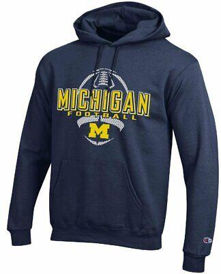 - Michigan Wolverines Blue Football Powerblend Screened Hoodie Sweatshirt by Champ
