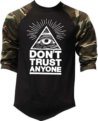 Mens Dont Trust Anyone Camo Baseball Raglan T Shirt Illuminati Triangle Eye