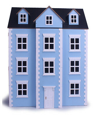 Three Storey Blue Georgian Dolls House Collectors Townhouse 3 Floors