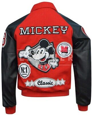 Michael Jackson Red and Black Mickey Mouse Letterman Jacket, All Sizes - Michael Jackson Red