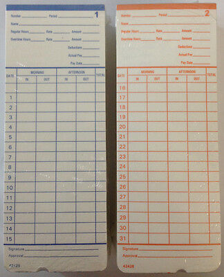 100 Time Cards For Pyramid 2400 At-2400 At-2500 Time Clocks 42426 Compatible