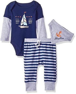 Nautica Infant Boys Navy & Gray 3pc Creeper Pants Set Size 0/3M 3/6M 6/9M $45