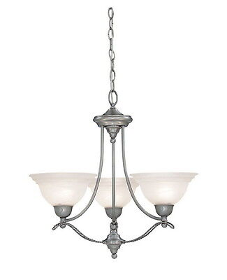 Pewter with Alabaster Glass 3 Light  Chandelier Alabaster Pewter Chandelier
