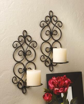 2 Dazzling Sconce Black Candle Holder Wall Decor - Two Sconces Set NEW Wall Sconce Iron Candle Holder