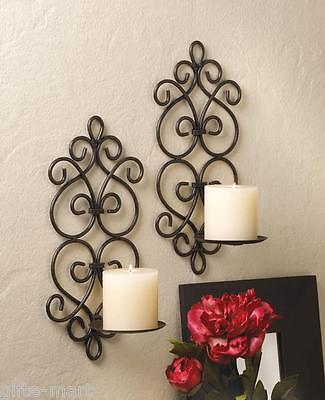 2 Black iron Artisanal Sconce WALL mount pillar heart scroll candle holder pair