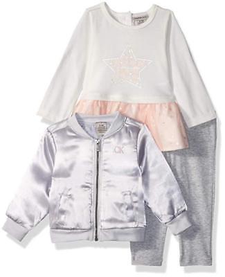 Calvin Klein Infant Girls Jacket 3pc Pant Set Size 3/6M 6/9M