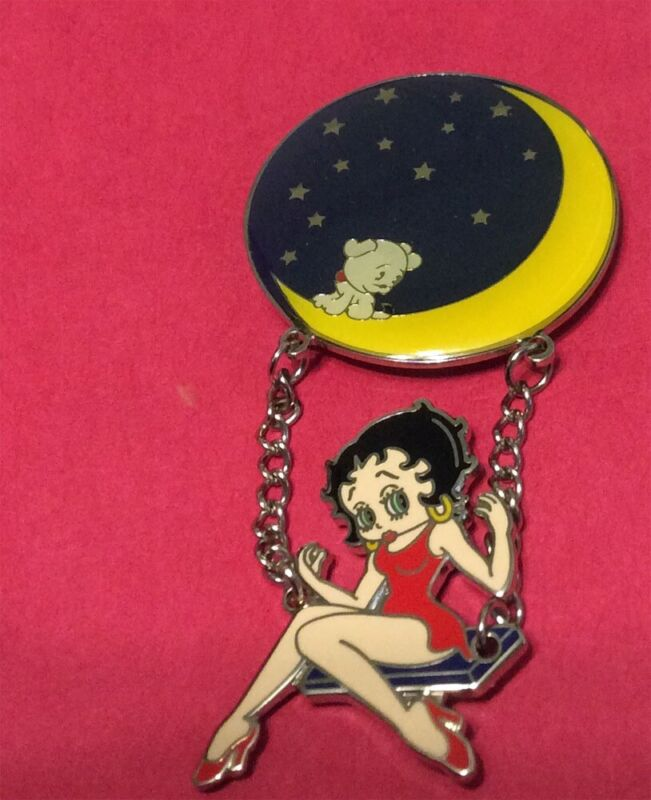 BETTY BOOP SWINGING FROM THE CRESCENT MOON W/ PUDGY PIN