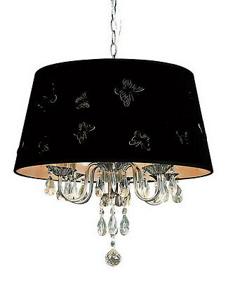 Crystal Chandelier With Black Butterfly Shade Orig - Butterfly Chandelier