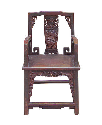 Chinese Vintage Horses Carving Motif Accent Armchair cs1514