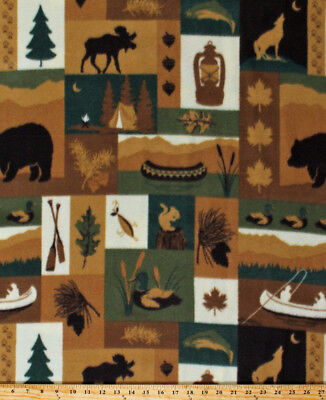 (Northwoods Camping Moose Bears Canoes Fishing Fleece Fabric Print BTY A346.10)