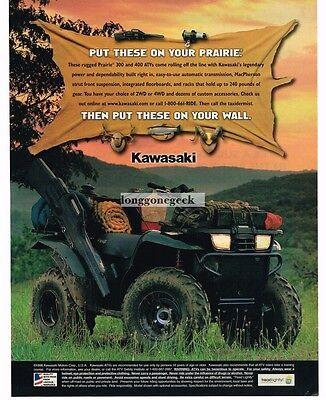 1999 KAWASAKI Prarie 300, 400 ATV VINTAGE Print Ad