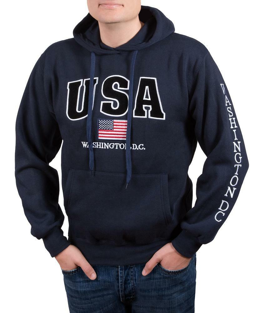 Washington DC Navy USA Sweatshirt Hoodie Embroidered Letters Unisex