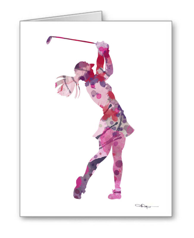 GIRL GOLFER Note Cards With Envelopes
