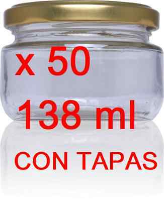 50 x Frascos de vidrio 138 ml esterilizable 120º botes cristal conservas...