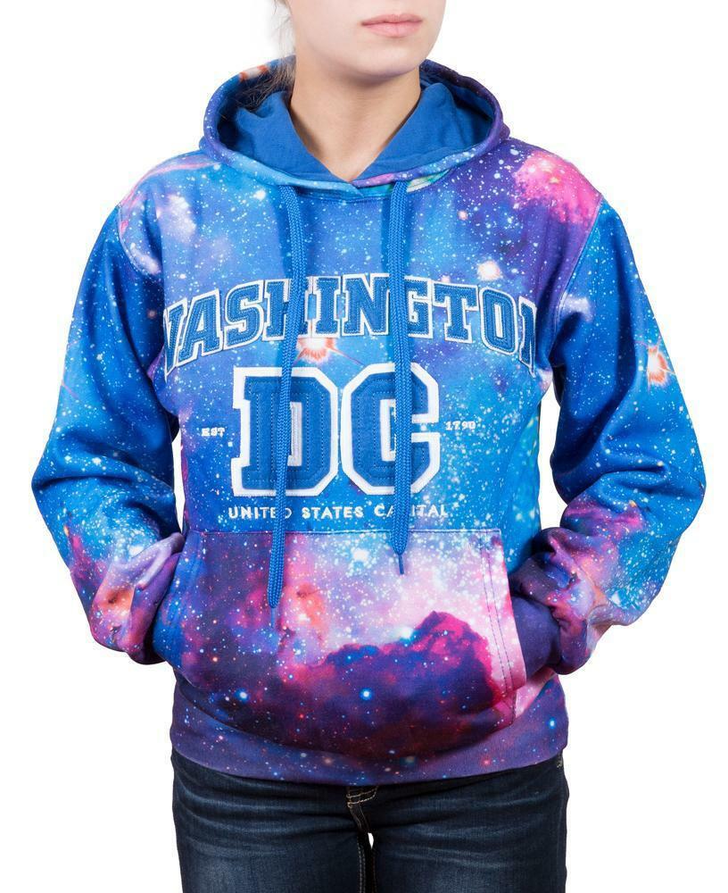 Hoodie Galaxy Washington DC Blue Sweatshirt Embroidered Letters  Unisex size S