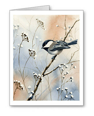 CHICKADEE note cards by watercolor artist DJ Rogers