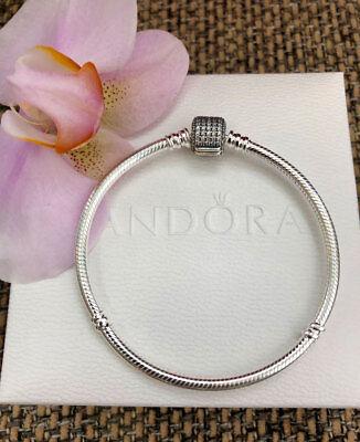 "Pandora Signature Clasp Bracelet Sterling Silver Sz 7.5"" / 19 cm,W/BOX,#590723CZ"