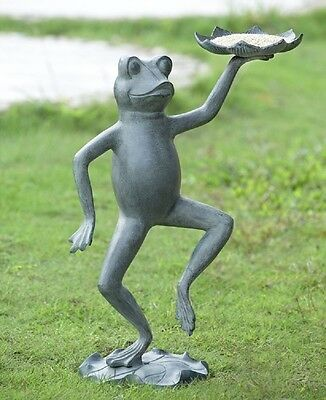 "Dancing Frog With Lily Pad Bird Feeder Garden Yard Statue Sculpture Metal 20""H"