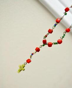 Beautiful red natural stone cross rosary style necklace!