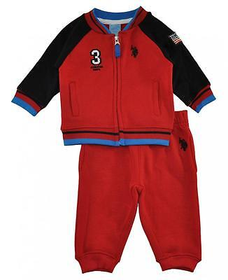 US Polo Assn Infant Boys Fleece Jacket 2pc Sweat Pant Set Size 3/6M 6/9M $40