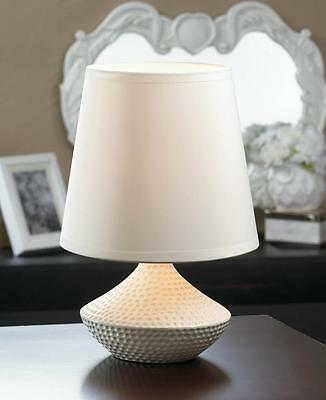 "SMALL white 10"" mini textured ceramic bedside Table Lamp nig"
