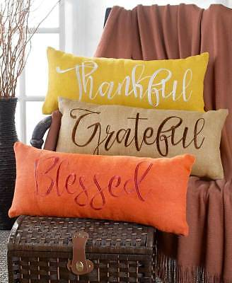 EMBROIDERED BURLAP BENCH PILLOW Inspirational Thankful Grateful Blessed Bed Sofa