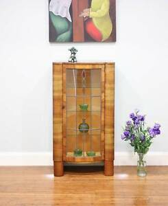 Vintage Art Deco Bow Front Leadlight Glass Display Case / Cabinet Altona Hobsons Bay Area Preview
