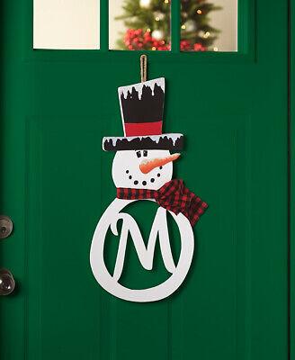Personalized Door Wreath (MONOGRAM PERSONALIZED Initial SNOW MAN DOOR WALL HANGER Flake Wreath Mom)