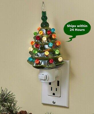 Ceramic Christmas Tree Night Light Retro Vintage Bubble Style Green 7.5