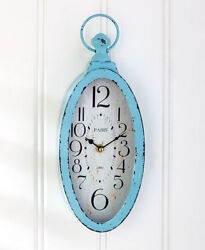 Vintage Wall Clock-Blue Antique Distressed Battery Operated