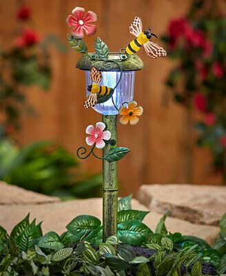 Decorative Lighted Solar Lawn Stakes with Floral Spring Accents - Bee Lighted Lawn Decorations