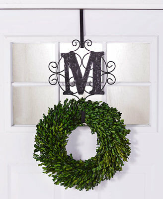 PERSONALIZED MONOGRAM INITIAL METAL WREATH HOLDER Christmas Door Wall Scroll Art (Personalized Door Wreath)