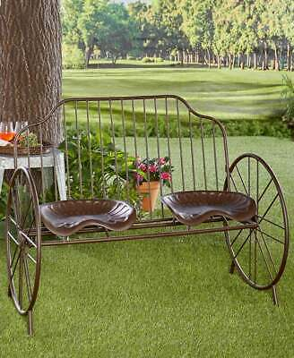 Rustic Metal Farmhouse Porch Farmers Tractor Seat Bench Outd