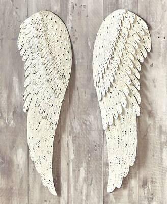 Angel Wings Wall (2 PC Metal Angel Wings Religious Distressed Vintage Rustic Wall Art Home)