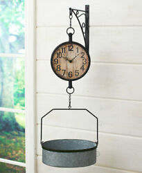 Distressed Farmhouse Wall Mounted Scale Clock Country Rustic Primitive Battery