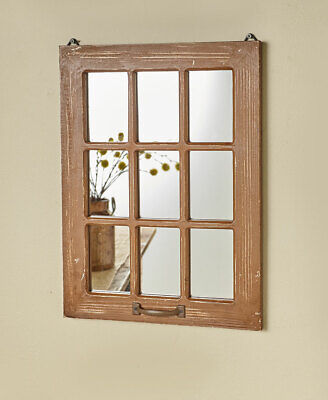 Distressed Wood Windowpane Mirror -