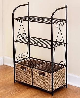METAL AND SEAGRASS ACCENTED BATHROOM LINEN STORAGE SHELVING UNIT HOME DECOR ()