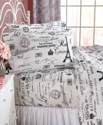PARIS EIFFEL TOWER SHEET SET French Script City of Lights Romantic Love Wife Mom ()