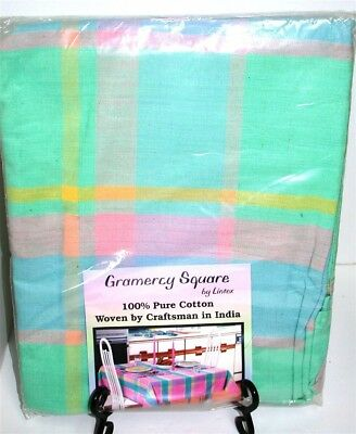 """Gramercy 100% Cotton Plaid Easter Tablecloth ~ Pastel Multi ~ 60"""" x 84"""" Oval NEW"""
