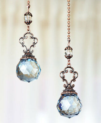 The Lakeside Collection Set Of 2 Vintage Jeweled Fan Pulls   Blue